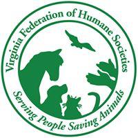 Virginia Federation of Humane Societies (Edinburg, Virginia) logo is a horse, dog, cat, bird, and pair of hands inside a circle