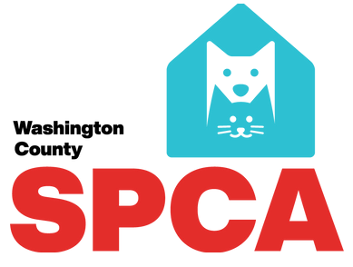 Washington County SPCA (Bartlesville, Oklahoma) logo teal dog house layered with white dog and teal cat black and red lettering