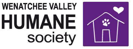 Wenatchee Valley Humane Society (Wenatchee, Washington) | logo of purple square, white house, white paw print, white heart
