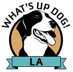 What's Up Dog! L.A. (NKLA) (Los Angeles, California) | logo of black and white dog, blue circle, text What's Up Dog! L.A.