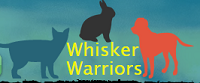 Whisker Warriors Animal Defense Fund (Rancho Cordova, California)   logo of red dog, blue cat, black rabbit, whisker warriors
