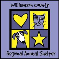 Williamson County Regional Animal Shelter (Georgetown, Texas) | logo of purple, yellow squares, cat, star, heart, dog