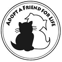 """Wood County Humane Society (Bowling Green, Ohio) logo is a black cat and white dog with """"ADOPT A FRIEND FOR LIFE"""" tagline"""