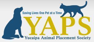Yucaipa Animal Placement Society (Yucaipa, California)   logo of blue dog, blue cat, YAPS, saving lives one pet at a time
