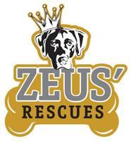 Zeus' Rescues (New Orleans, Louisiana) logo is a dog head with a crown above a bone with the organization name on it