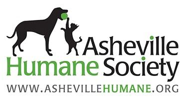 Asheville Humane Society (North Carolina) logo of dog and cat playing with a ball