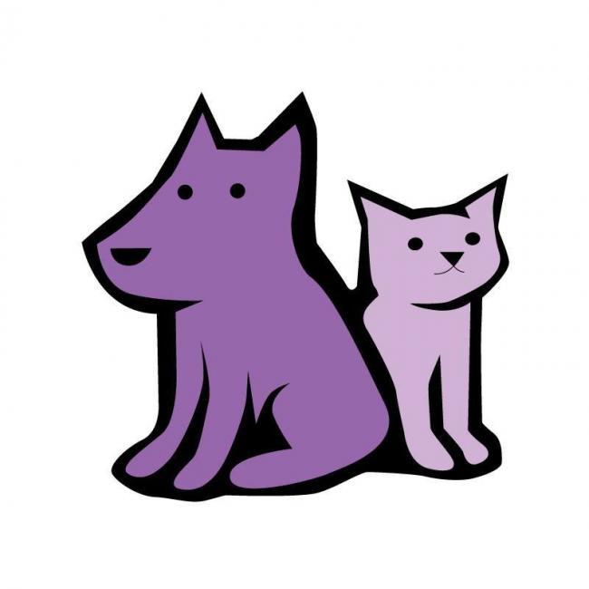 A.R.F.-Animal Rescue Foundation (Wheaton, Illinois) logo of purple dog and cat