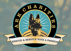 Animal Rescue & K9 Charities Inc, (Brookfield, Connecticut) logo german shepherd dog silhouette in a circle with ribbon