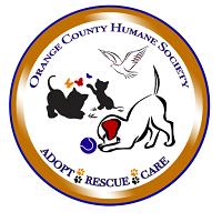 Orange County Humane Society of Virginia (Locust Grove, Virginia) logo has the org name, a dog, two cats, butterflies & a bird