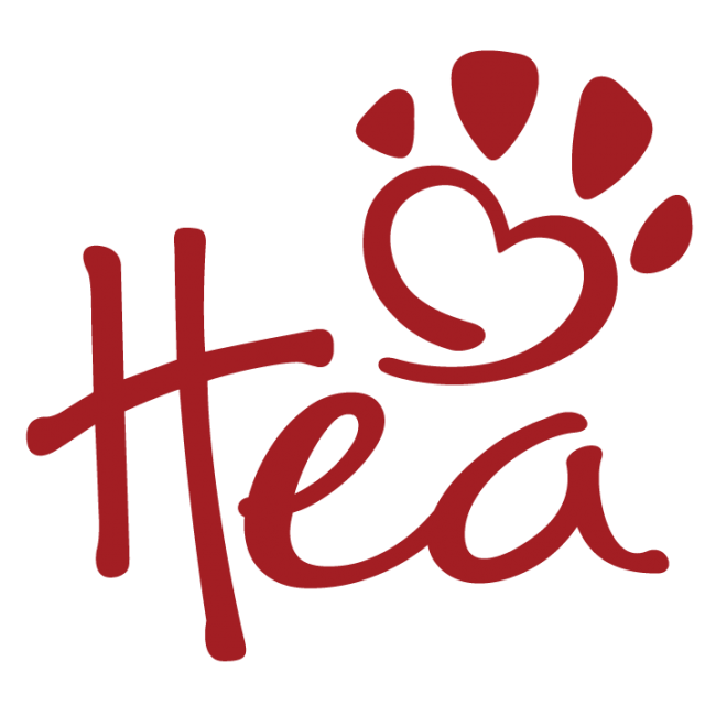 Happily Ever After Animal Sanctuary logo, initials H E A in red with a paw print in shape of a red heart