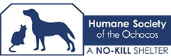 Humane Society of the Ochocos (Prineville, Oregon) logo has a cat and dog in a rectangular outline next to the name
