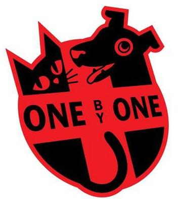 One by One Friends of Animals Inc (Owosso, Oklahoma) of black dog and cat, red cross, shield, one by one text
