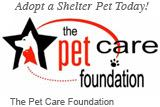 The Pet Care Foundation (Beverly Hills, California) logo is a red cat in front of a white dog in a black star and the org name