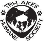 Tri-Lakes Humane Society (Reeds Spring, Missouri) | logo of dog, cat, hands, paw prints, Tri-Lakes Humane Society