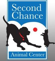 Second Chance Animal Center (Arlington, Vermont) | logo of black dog, red collar, black cat, red ball, playing, Second Chance