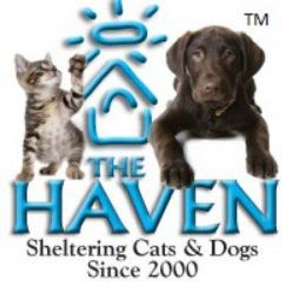 The Haven (Fairhope, Alabama)   logo of blue house, sun, The Haven No-Kill Animal Shelter, rescuing dogs and cats since 2000