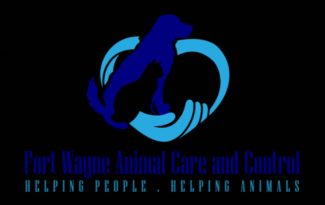Fort Wayne Animal Care and Control, (Fort Wayne, Indiana) logo light blue heart outline with dark blue dog silhouette on black with colored text