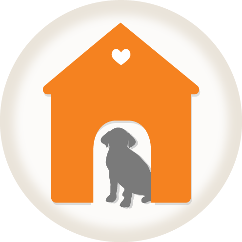 graphic of a dog in a doghouse with a heart on it