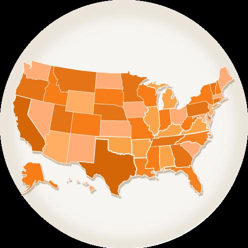 Orange USA Map